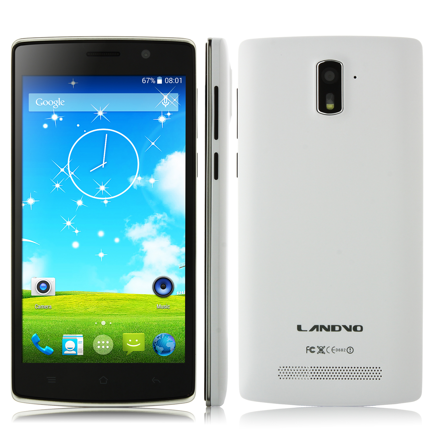 LANDVO L200S Smartphone 4G LTE Android 4.4 MTK6582 Quad Core 5.0 Inch HD Screen White