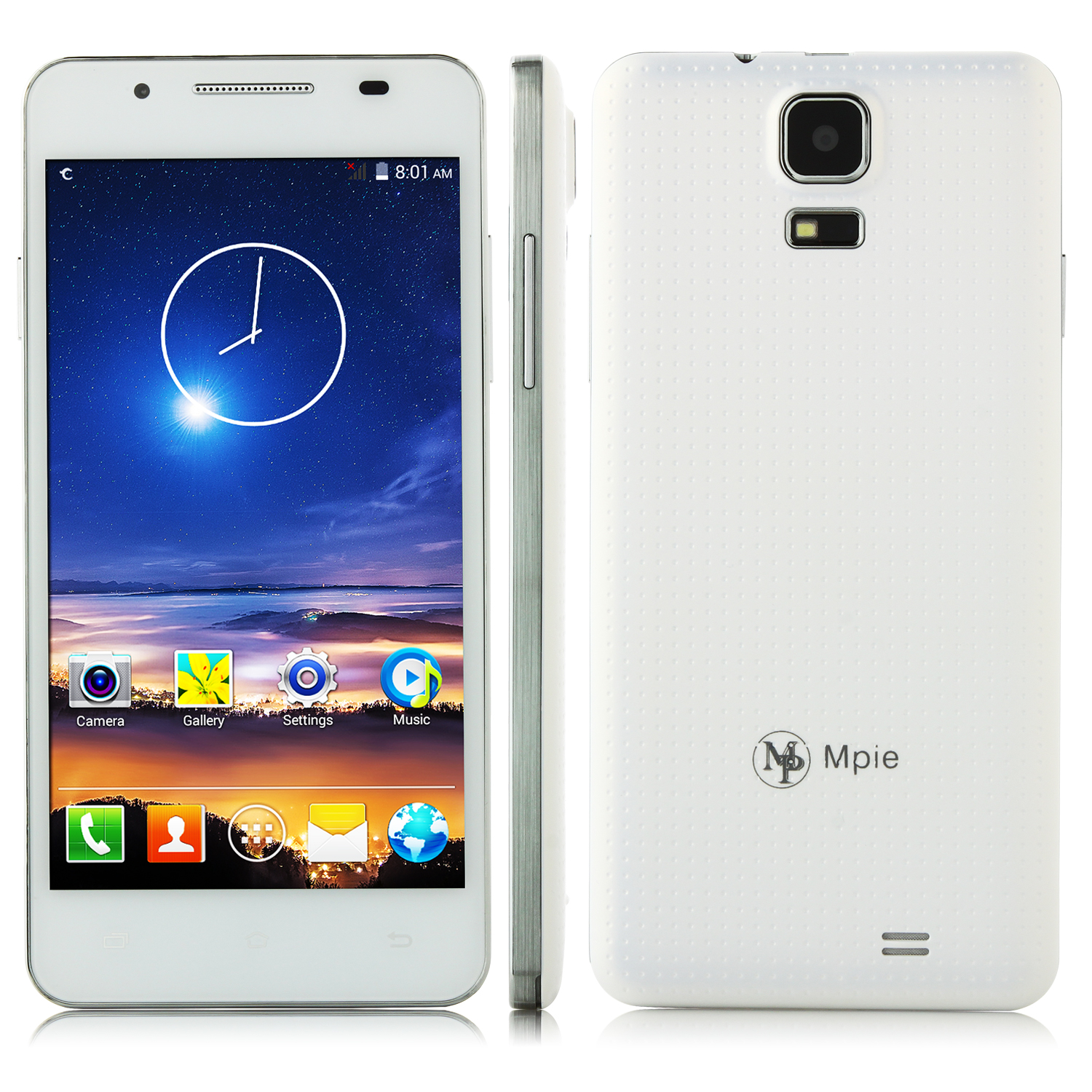 Mpie MP158+ Smartphone Android 4.4 MTK6582 Quad Core 5.0 Inch QHD Screen White