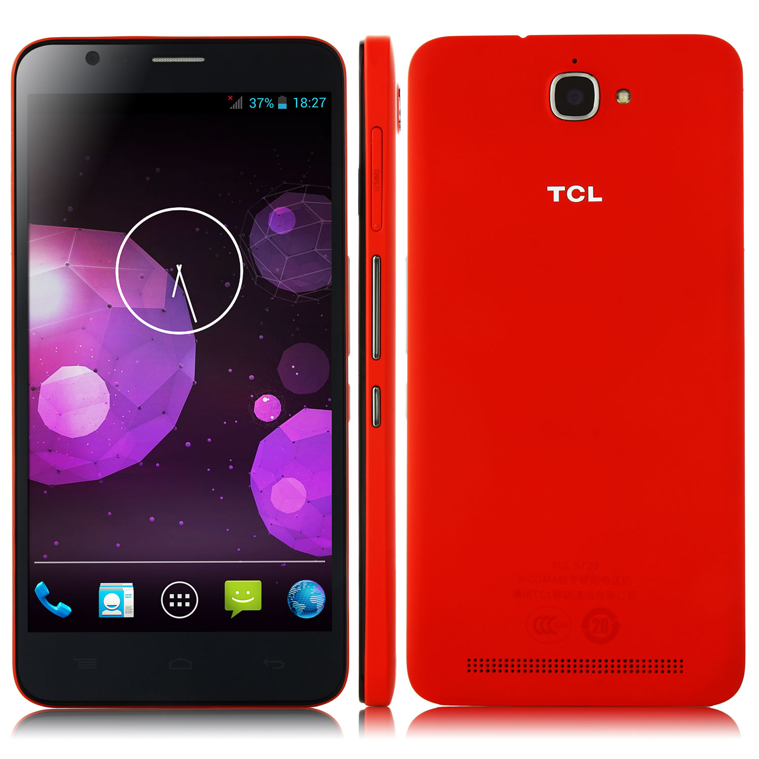 TCL S720 Smartphone MTK6592M Octa Core 1GB 8GB 5.5 Inch HD Screen 3300mAh Red