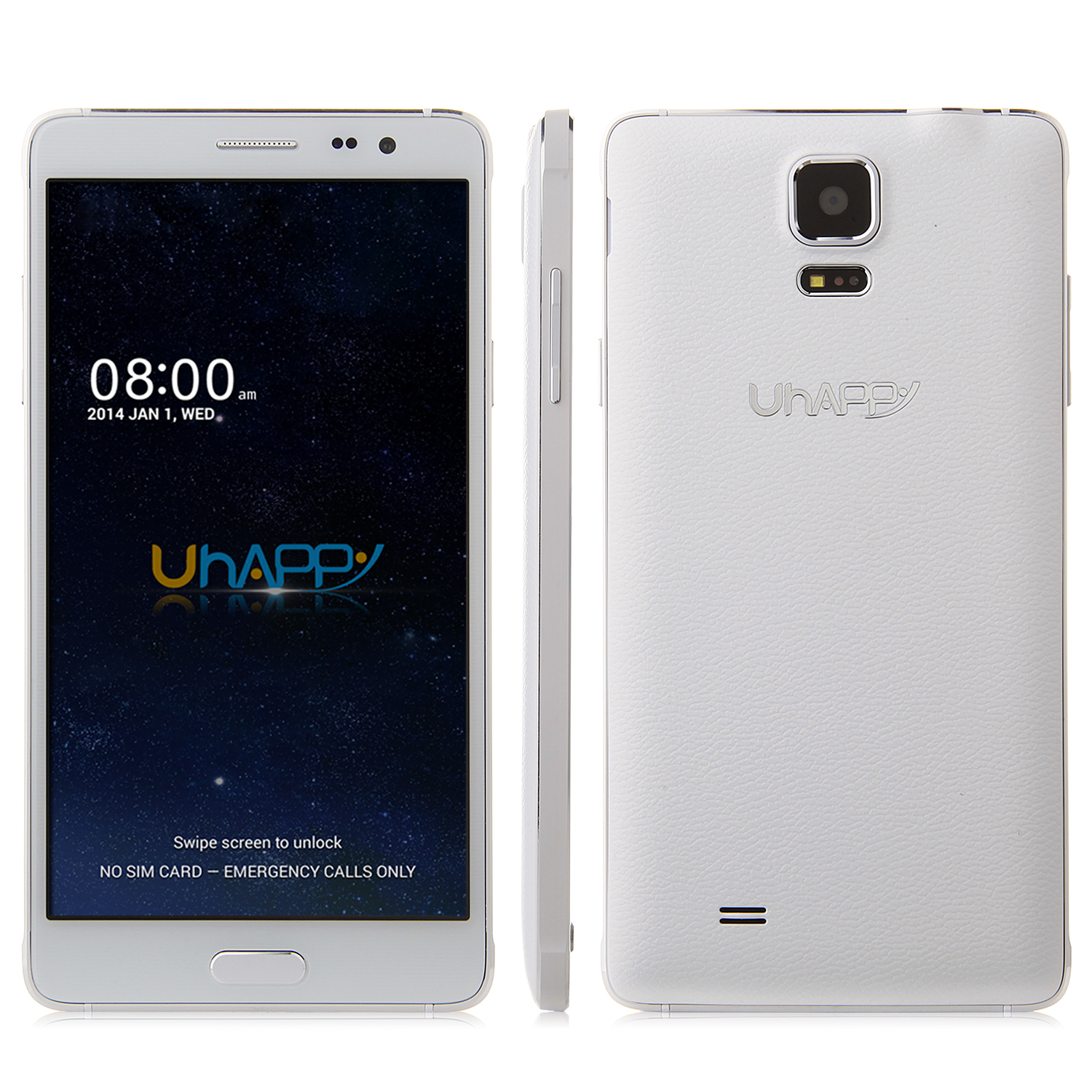 Uhappy UP570 Smartphone Android 4.4 MTK6582 Quad Core 1GB 8GB 5.7 Inch HD Screen White