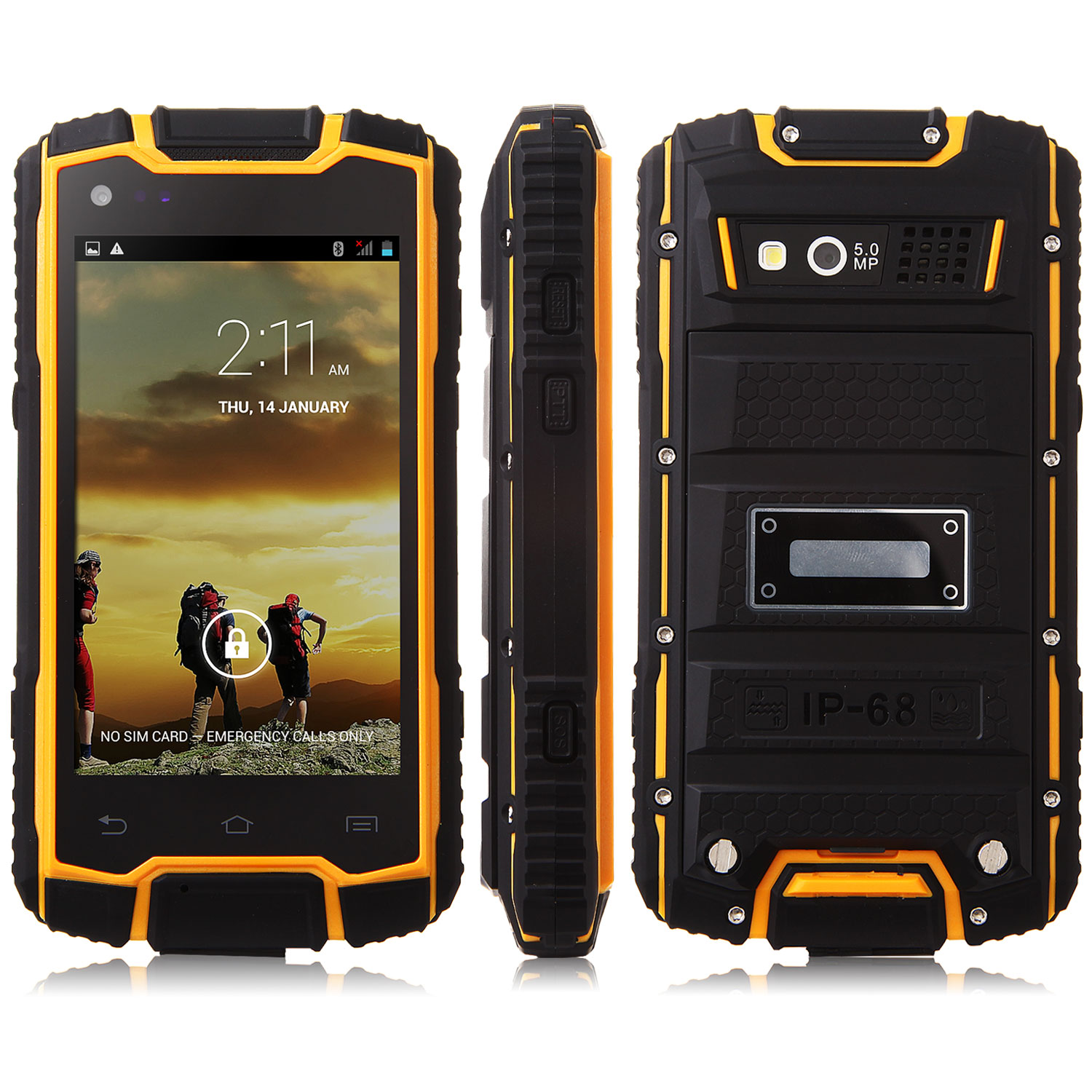 DG1 Smartphone IP68 MTK6582 Quad Core 1GB 8GB 4.0 Inch PTT 3200mAh Battery Black&Yellow