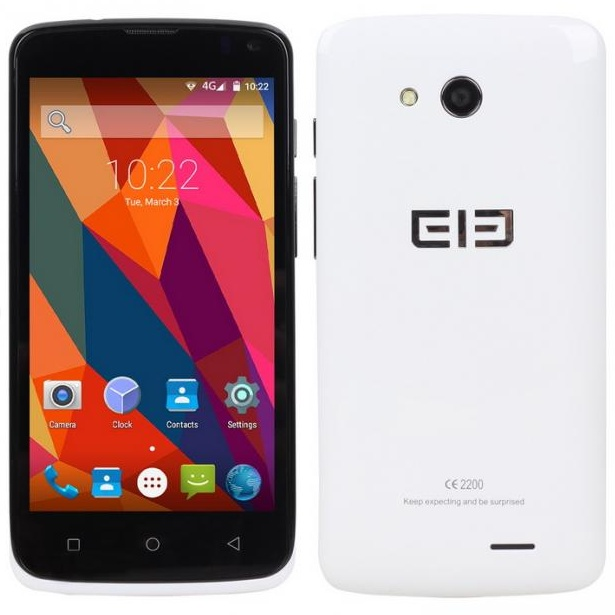 Elephone G2 4G Smartphone Android 5.0 64bit MTK6732M Quad Core 1GB 8GB 4.5 Inch White