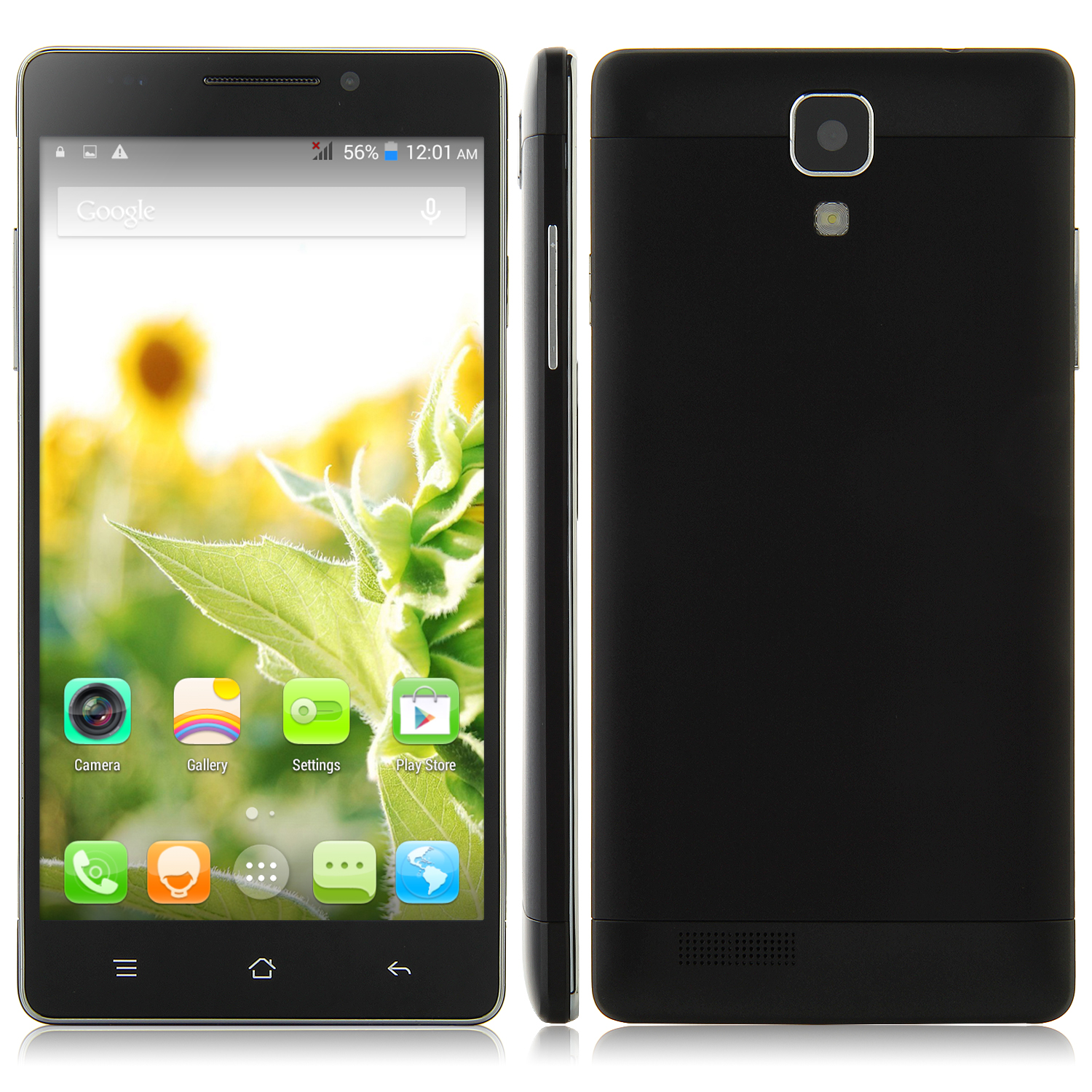 M7 Smartphone Android 4.4 MTK6582 Quad Core 1GB 8GB 5.5 Inch QHD Screen Black