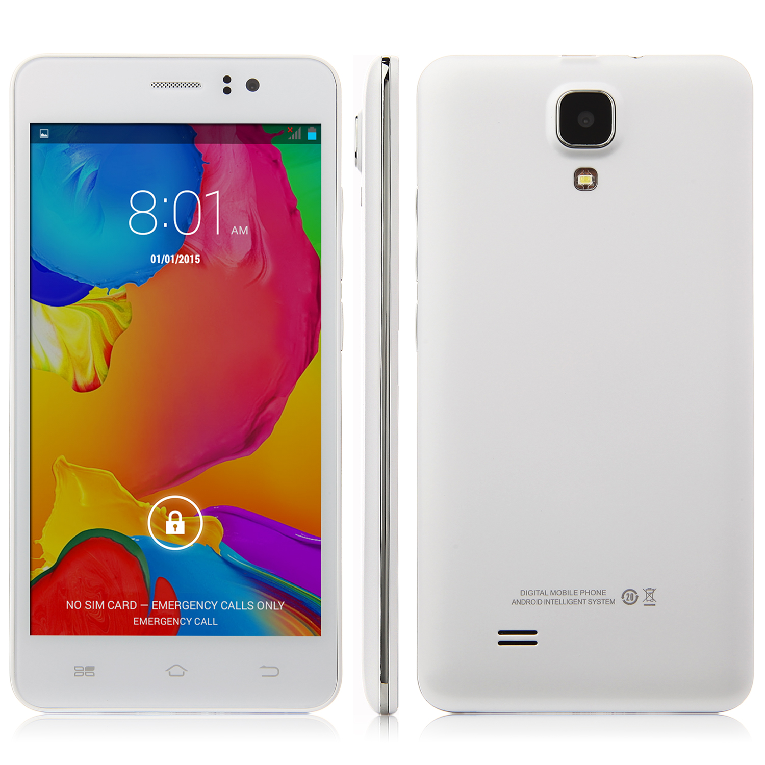 JIAKE Z7 Smartphone MTK6572W Dual Core 5.0 Inch QHD Screen Smart Wake White