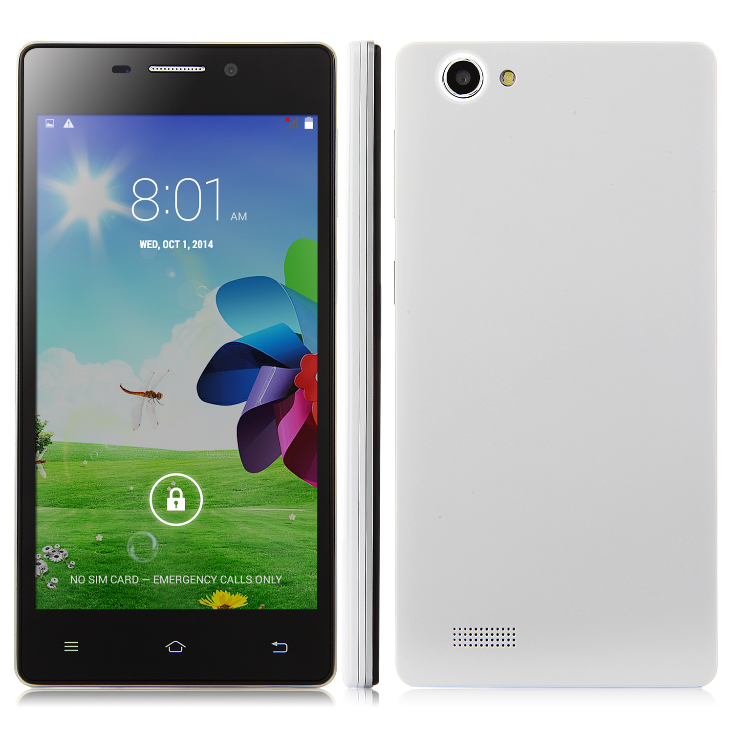 X2 Smartphone Android 4.4 MTK6572W 5.0 Inch QHD Screen Smart Wake White