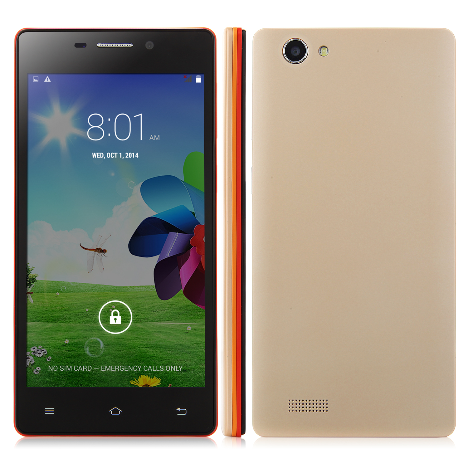 X2 Smartphone Android 4.4 MTK6572W 5.0 Inch QHD Screen Smart Wake Gold