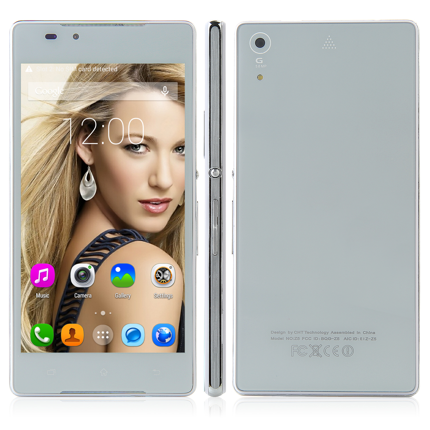 Tengda Z5 Smartphone Android 4.4 MTK6572W 5.0 Inch QHD Screen Smart Wake White