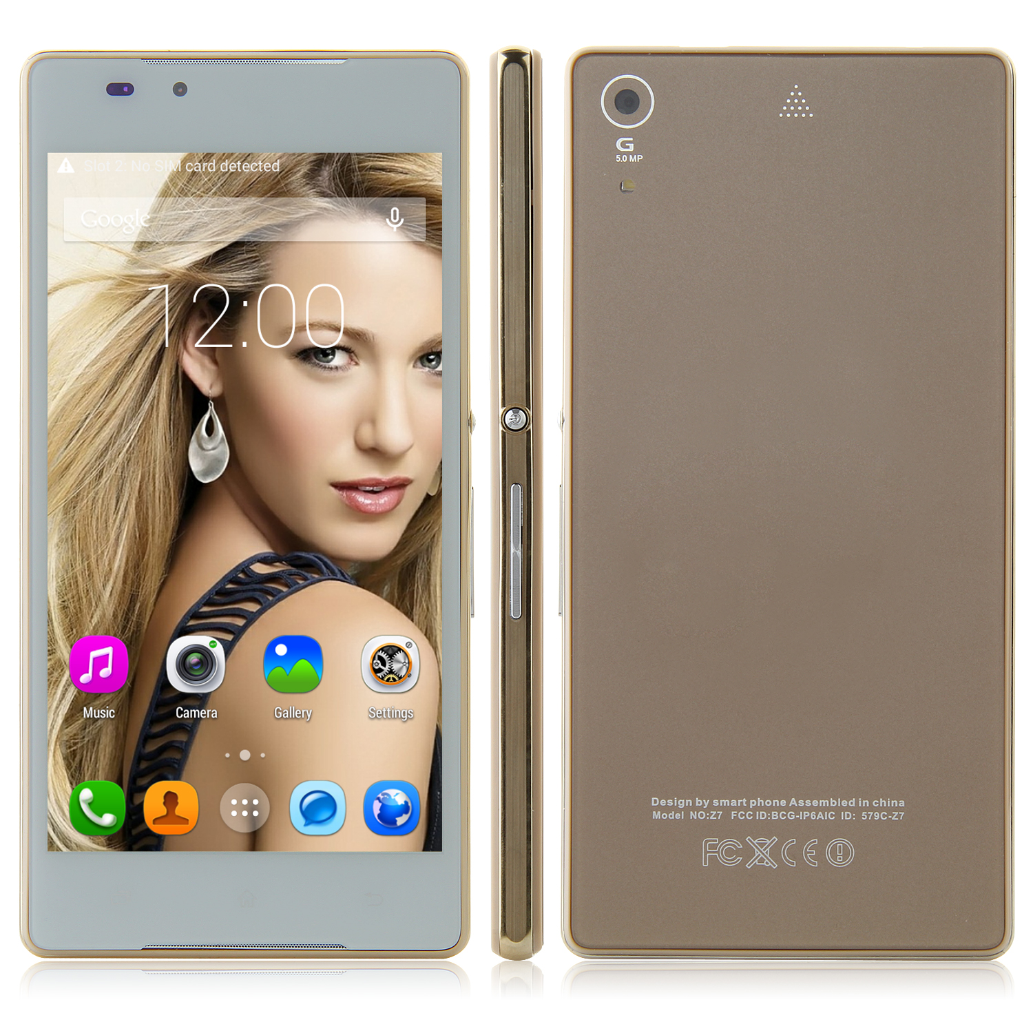 Tengda Z5 Smartphone Android 4.4 MTK6572W 5.0 Inch QHD Screen Smart Wake Gold