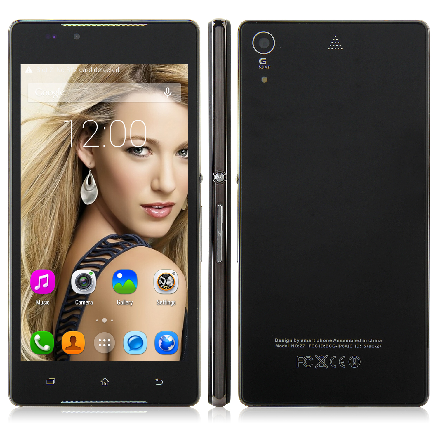 Tengda Z5 Smartphone Android 4.4 MTK6572W 5.0 Inch QHD Screen Smart Wake Black