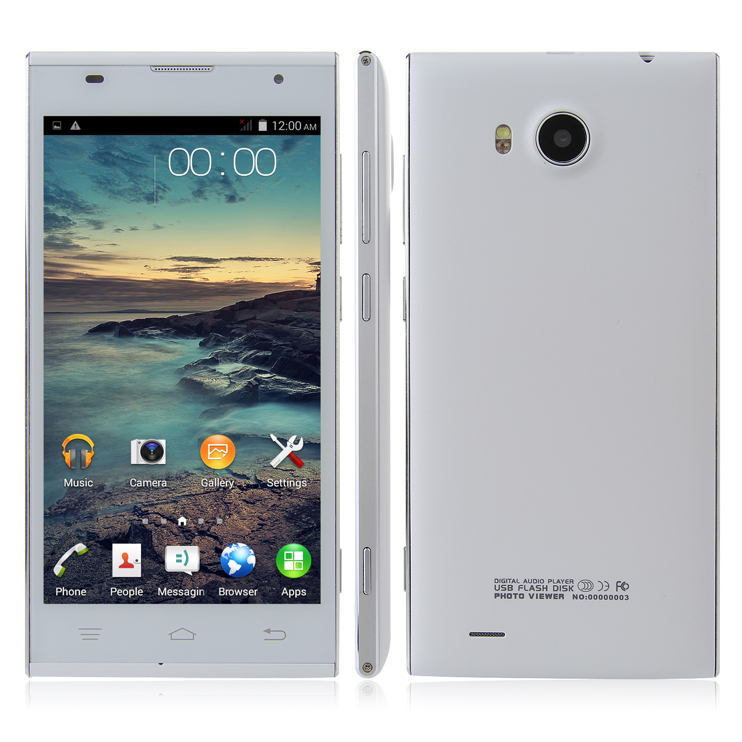 Tengda V8 Smartphone 5.0 Inch QHD Screen MTK6572W Android 4.4 3G GPS Smart Wake White