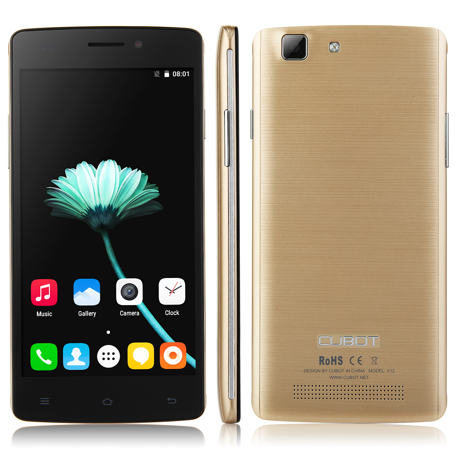 Cubot X12 4G Smartphone 64bit 5.0 Inch Android 5.1 MTK6735M Quad Core 1GB 8GB Gold