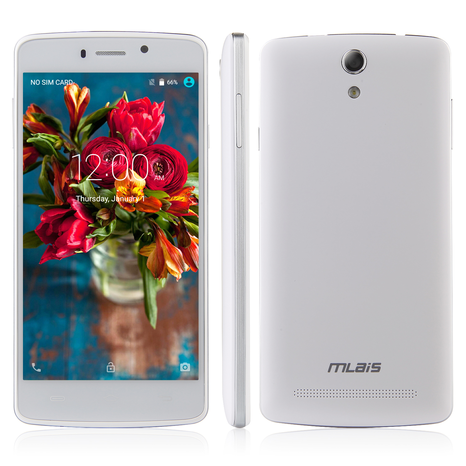 Mlais MX Base Smartphone 5.0 Inch HD 64bit MTK6735 Android 5.1 2GB 16GB 4300mAh White