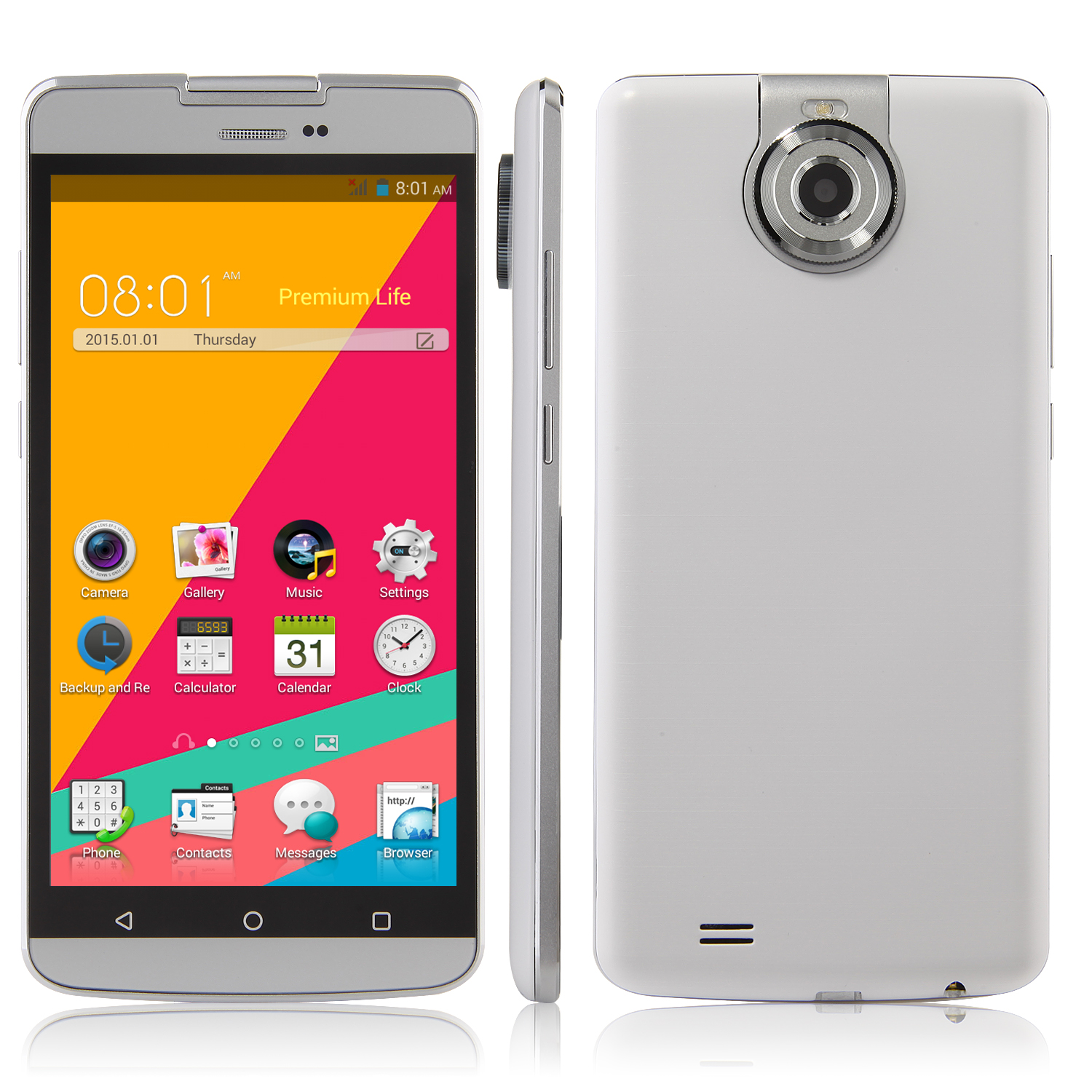 Tengda S8 Smartphone 5.5 Inch QHD Screen MTK6572W Android 4.4 Rotatable Camera White