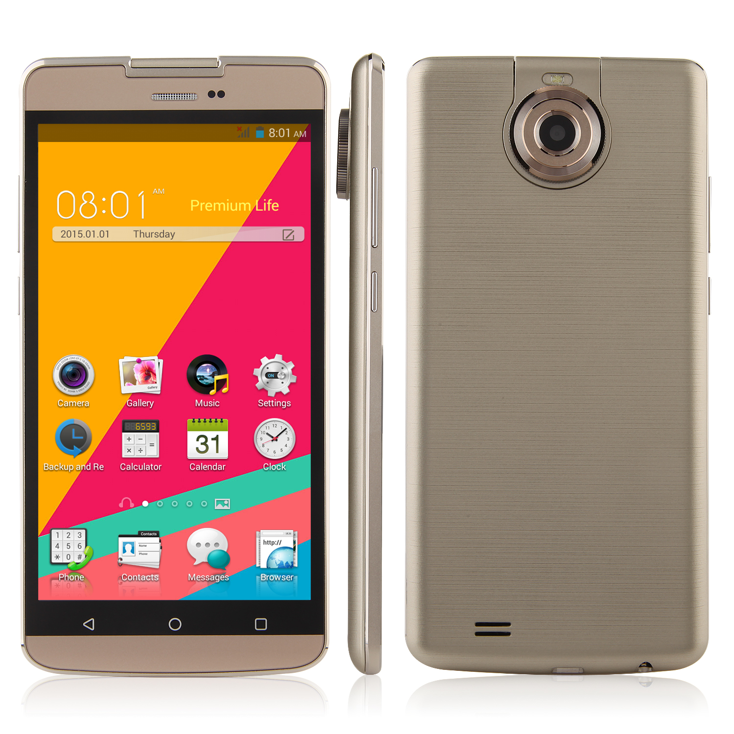 Tengda S8 Smartphone 5.5 Inch QHD Screen MTK6572W Android 4.4 Rotatable Camera Gold
