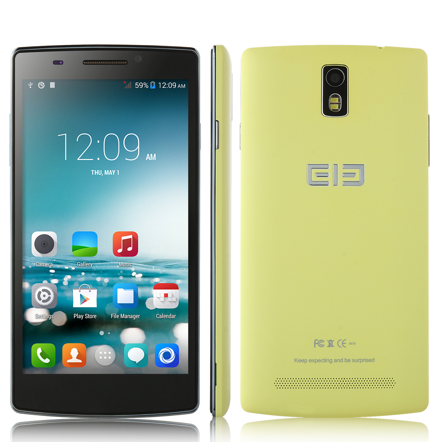 Elephone G5 Smartphone Smart Wake Android 4.4 MTK6582 5.5 Inch HD IPS Screen- Yellow