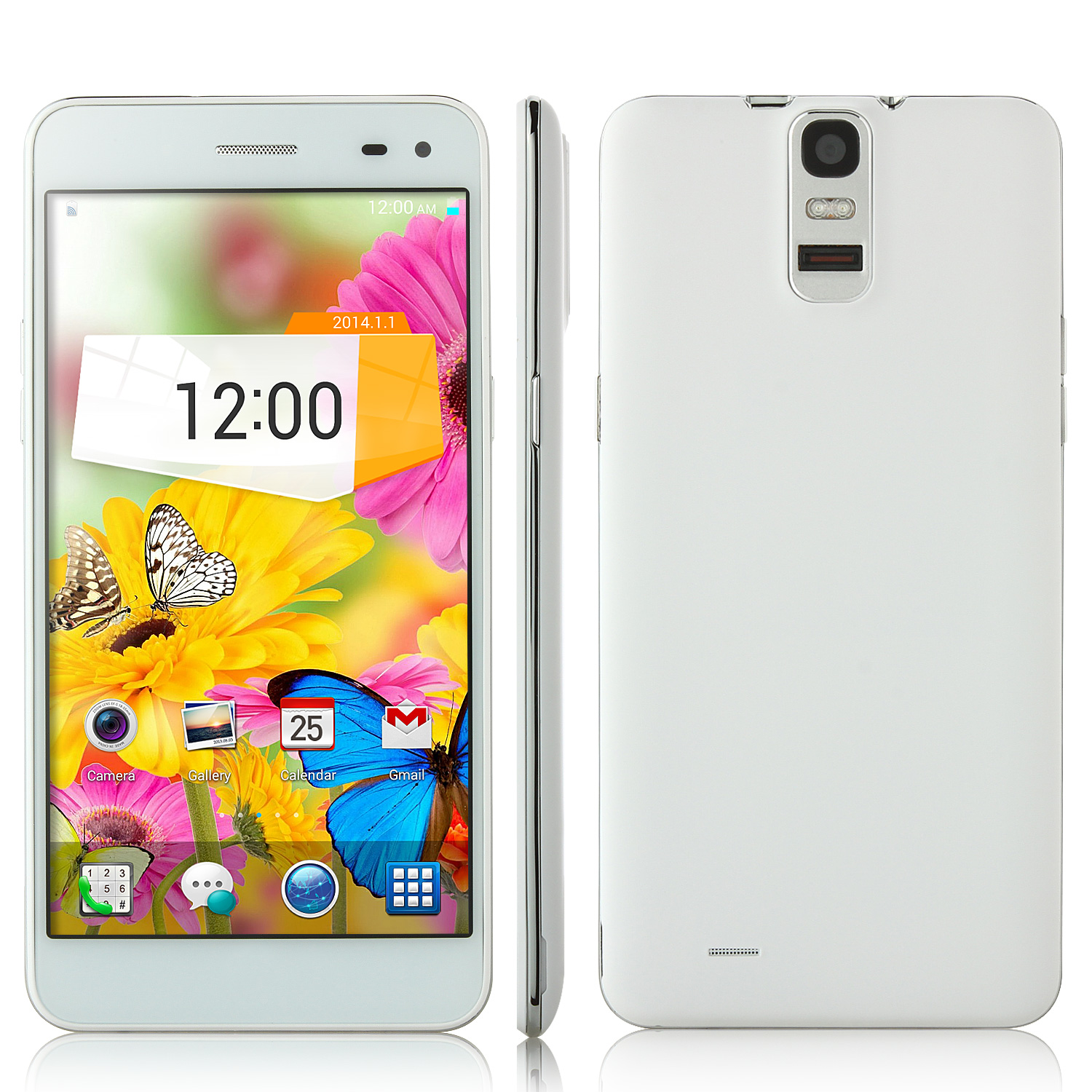 T6S Smartphone Android 4.4 MTK6582 3G NFC Finger Scanner 5.5 Inch HD Screen- White