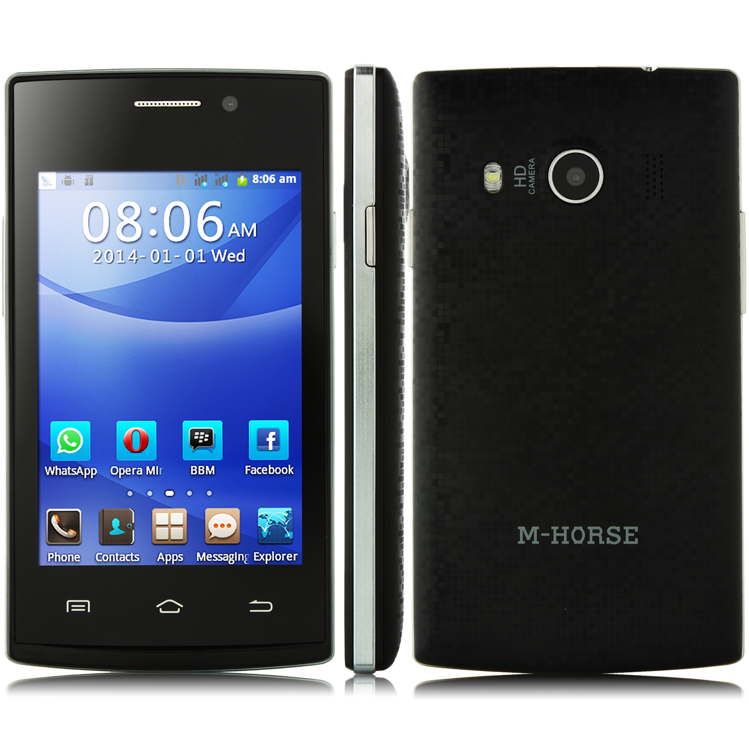 M-HORSE F7 Smartphone Android 4.2 Dual Cameras Dual Card 3.5 Inch Black