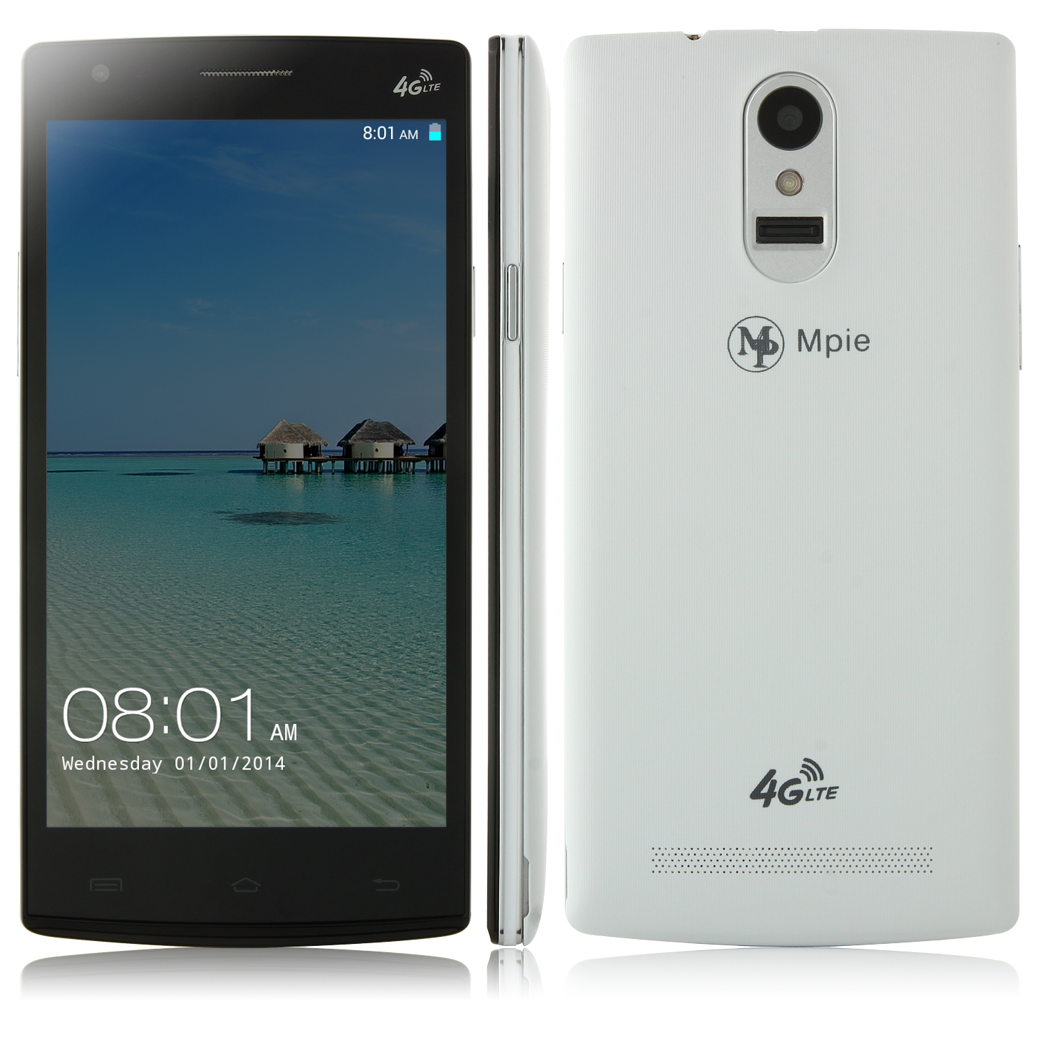 Mpie G7 Smartphone 4G LTE Android 4.4 MTK6582 Quad Core 2GB 8GB 5.0 Inch OTG NFC White