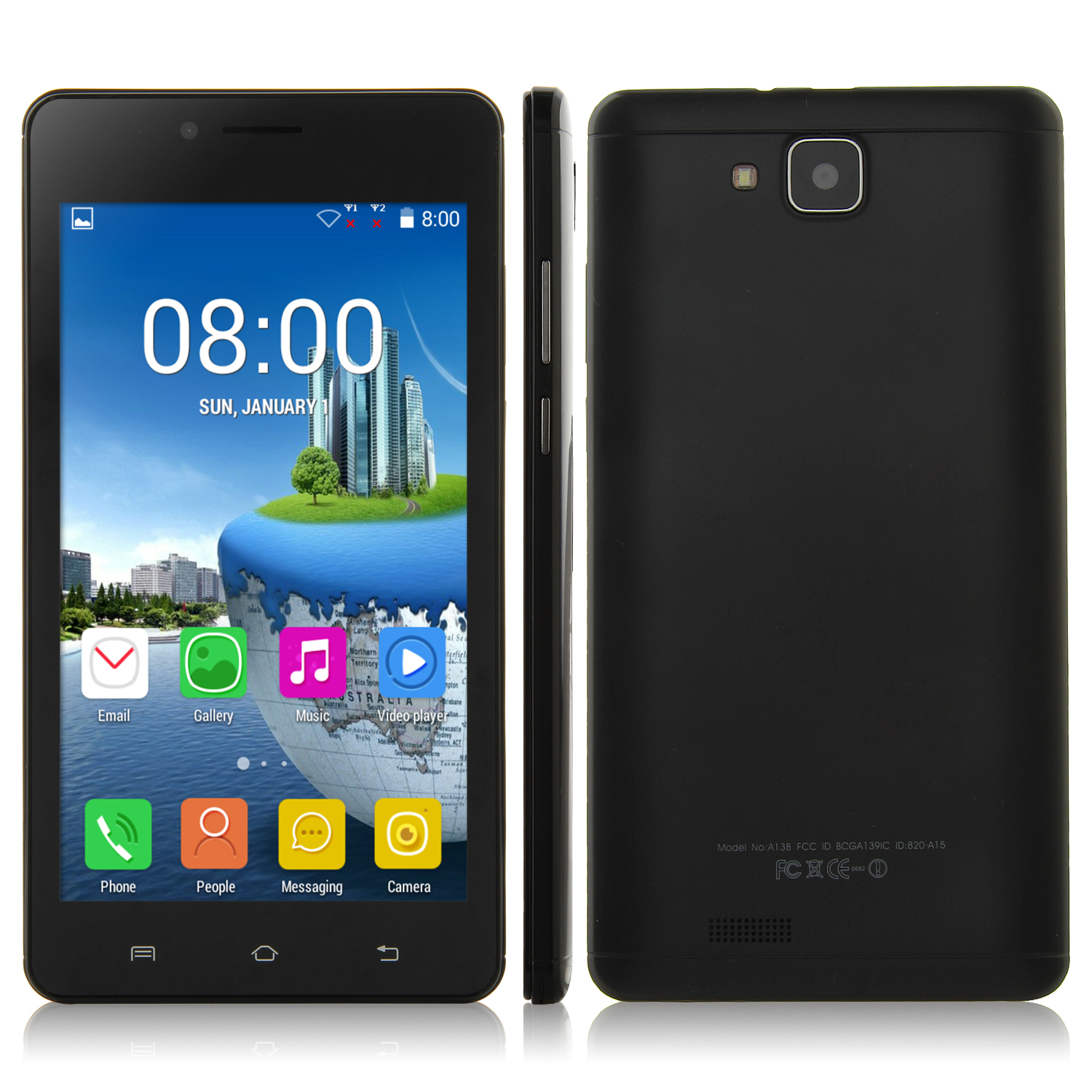 S7 Smartphone Android 4.4 MTK6572 Dual Core 5.9 Inch Screen 512MB 4GB Smart Wake Black