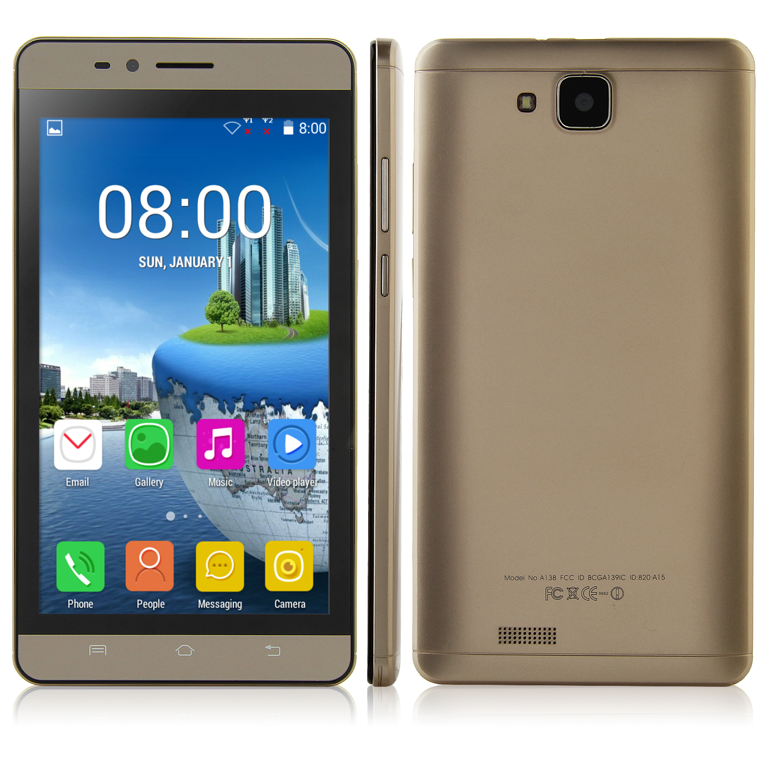S7 Smartphone Android 4.4 MTK6572 Dual Core 5.9 Inch Screen 512MB 4GB Smart Wake Gold