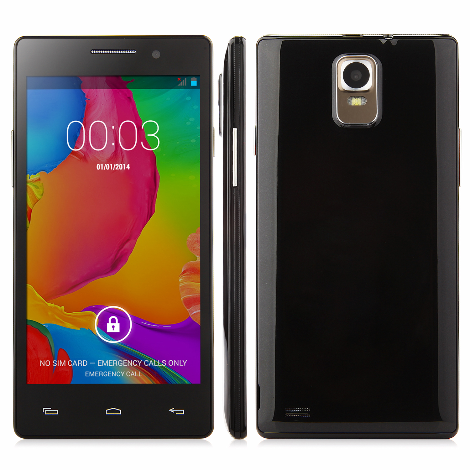 N908 Smartphone Android 4.4 MTK6572 Dual Core 5.0 Inch Screen Smart Wake Black