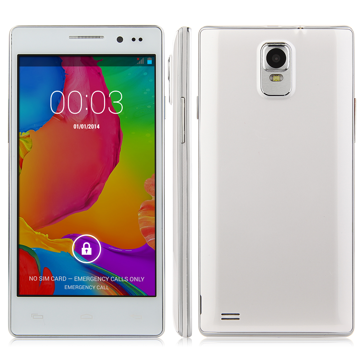 N908 Smartphone Android 4.4 MTK6572 Dual Core 5.0 Inch Screen Smart Wake White