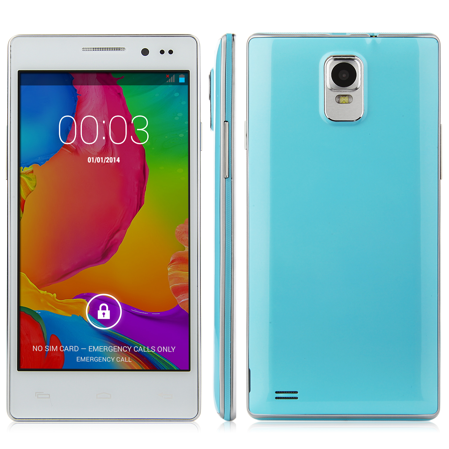 N908 Smartphone Android 4.4 MTK6572 Dual Core 5.0 Inch Screen Smart Wake Blue