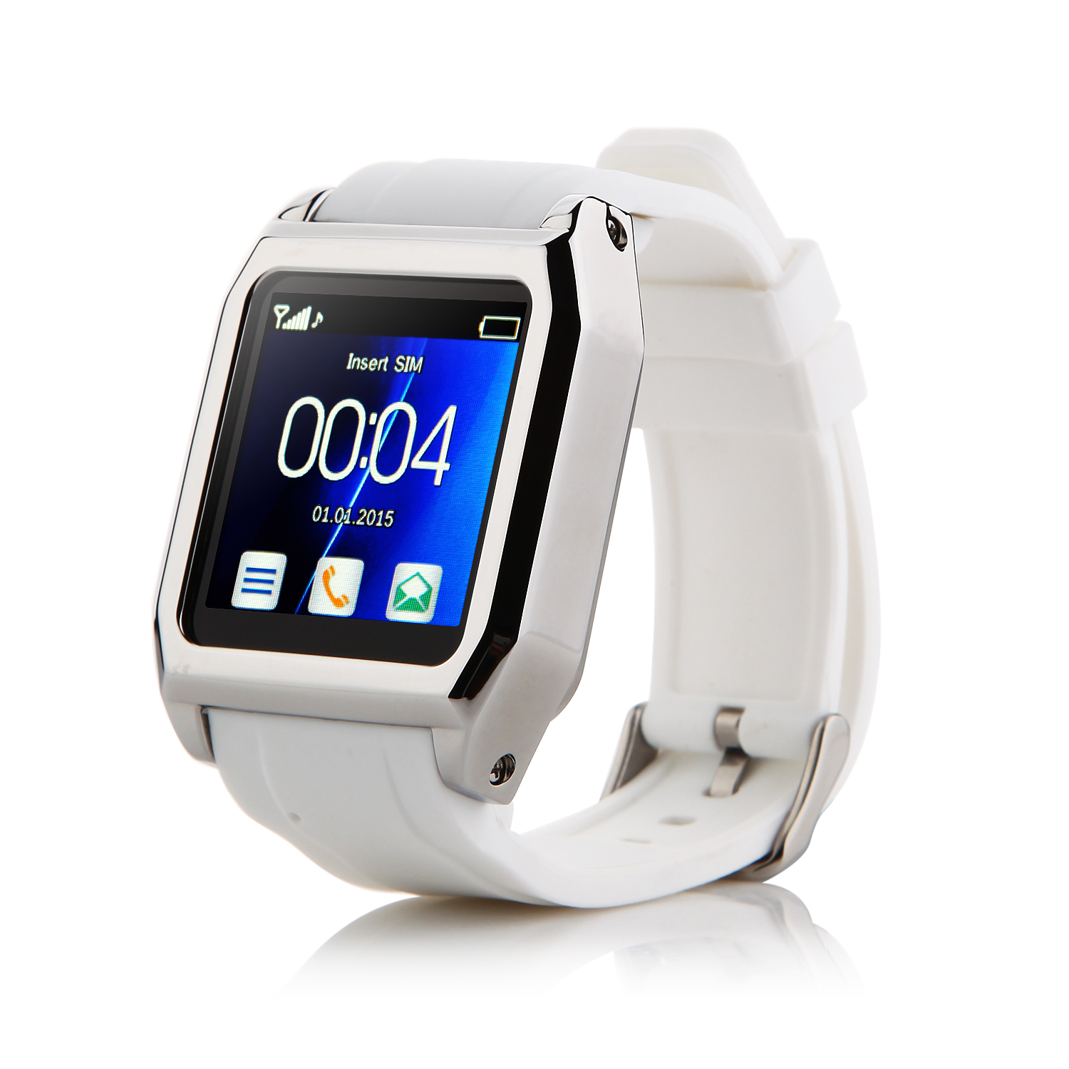 "TW530D Smart Bluetooth Watch Smart Watch Phone 1.55"" Screen White"