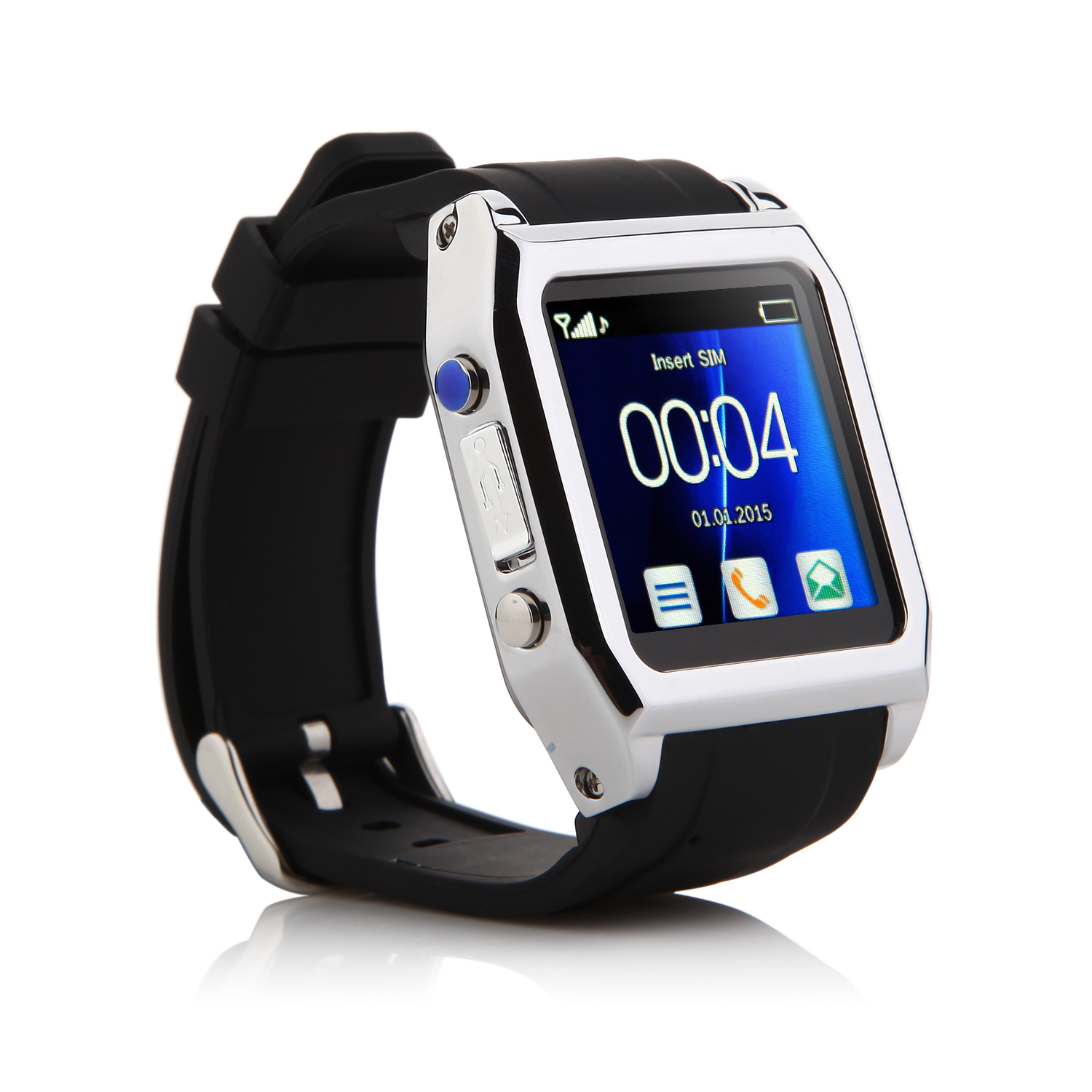 "TW530D Smart Bluetooth Watch Smart Watch Phone 1.55"" Screen Black"