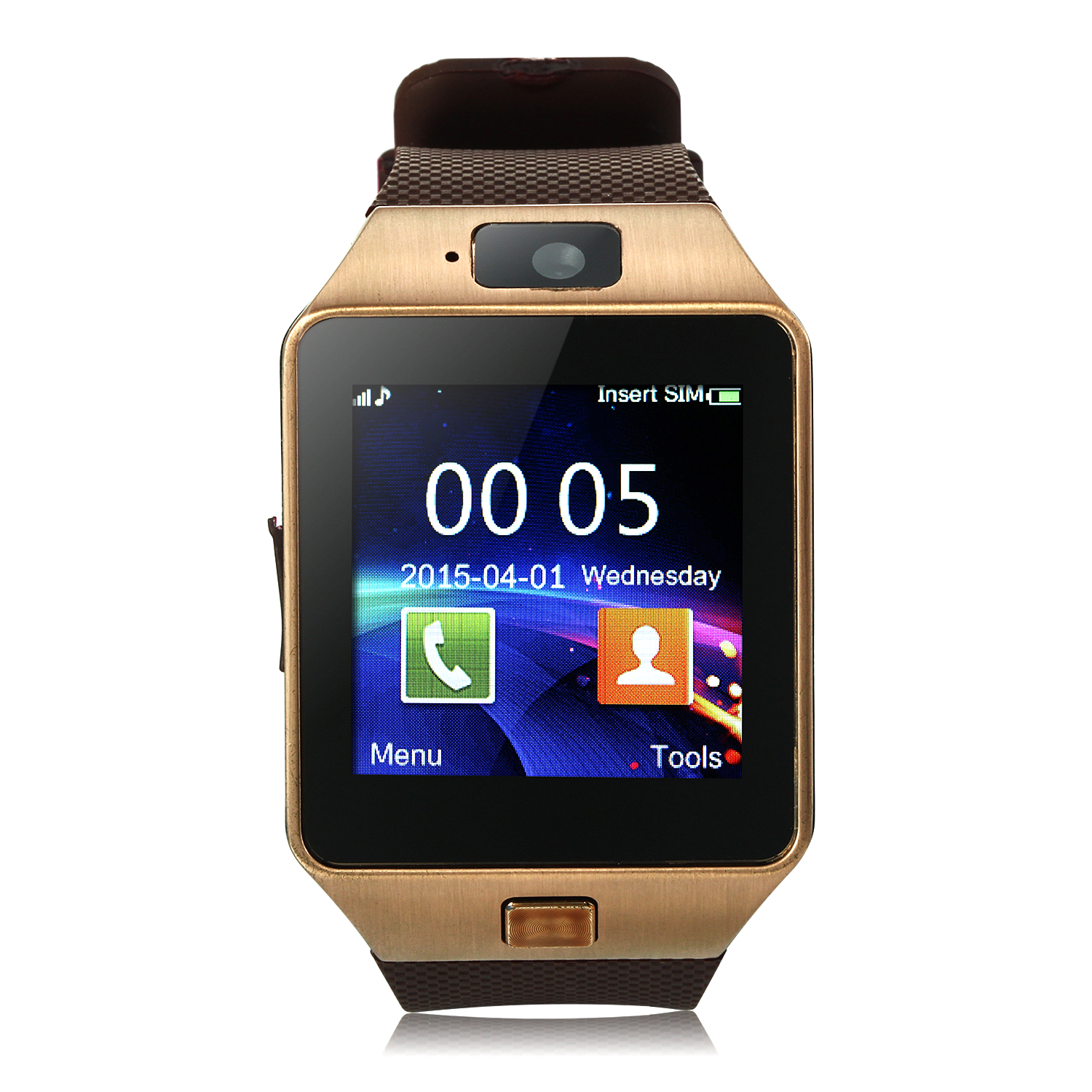 iCou I5 Smart Watch Phone 1.54 Inch Touch Screen Bluetooth Camera FM Brown