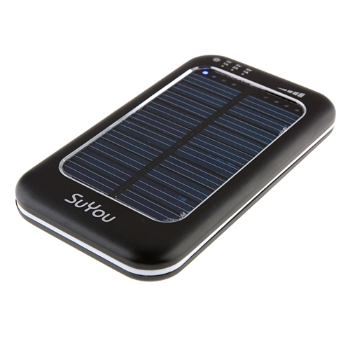 3500mAh Solar Charger Power Bank with 6 Connectors for iPhone Smart Phone- Black