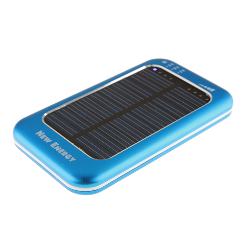 3500mAh Solar Charger Power Bank with 6 Connectors for iPhone Smart Phone- Blue