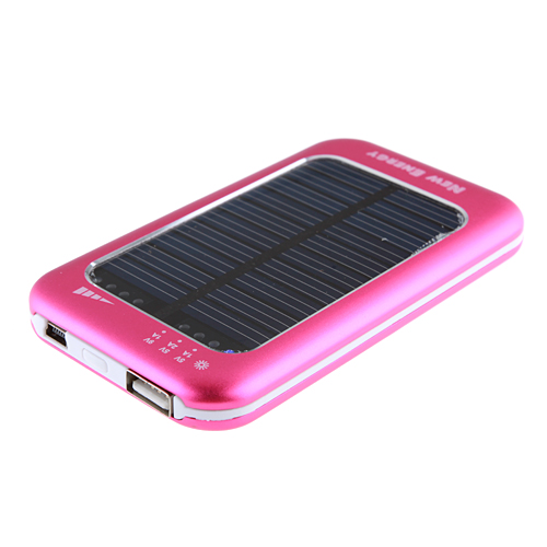 3500mAh Solar Charger Power Bank with 6 Connectors for iPhone Smart Phone- Rose