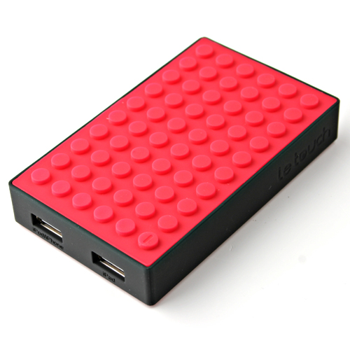 Le touch 4000mAh Universal Power Stone Power Bank Double USB for iPhone iPad Smart Phone Tablet- Black & Red