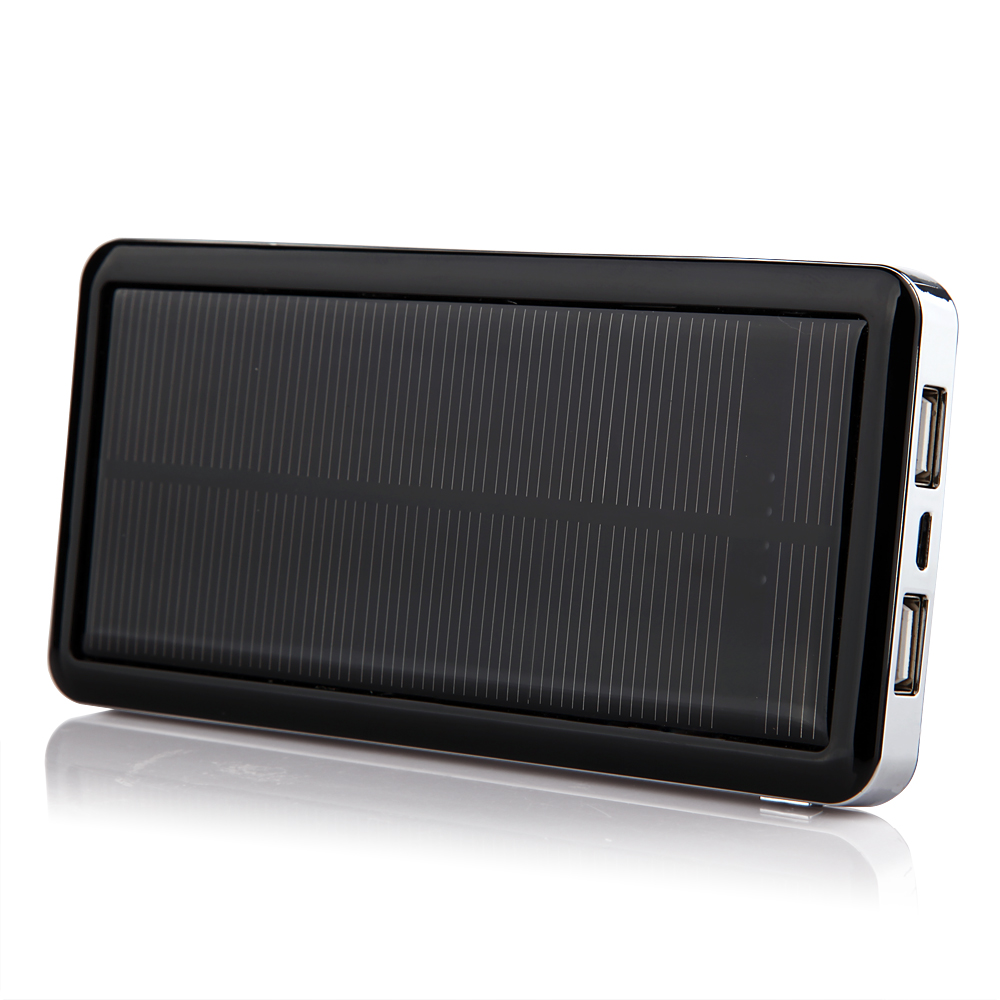 12800mAh Power Bank Solar Charger for iPad iPhone Smartphone Black