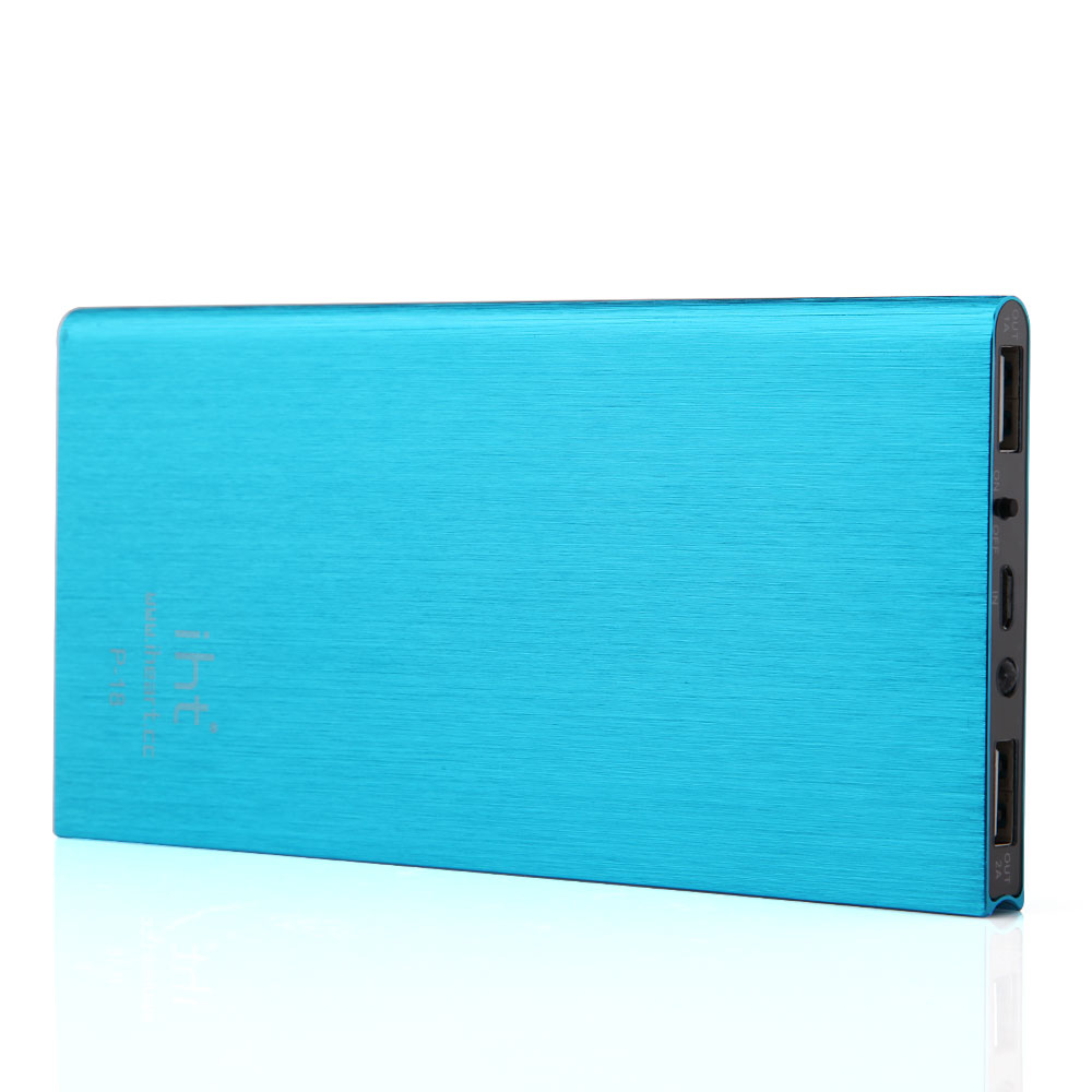 IHT P-18 18000mAh Dual USB Power Bank for iPhone iPad Smartphone - Blue
