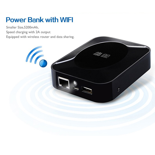 Yoobao YB-628 Mytour 5200mAh WiFi Router + 3G + Power Bank Black