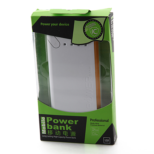 15000mAh Dual-USB Power Bank for Mobile Phone Tablet PC White
