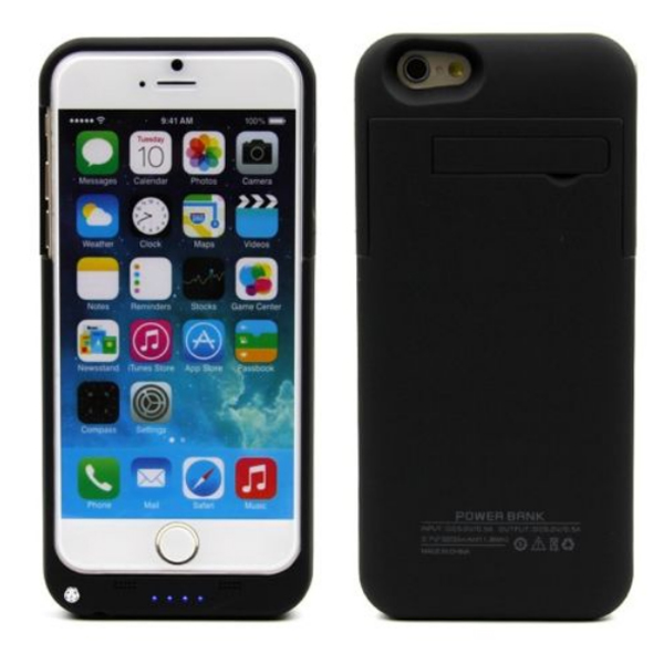3200mAh Power Bank Back Case Phone Stand for iPhone 6 Plus 5.5 inch Black