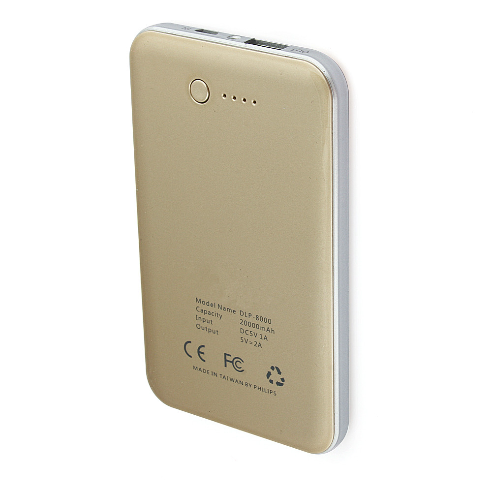 6000mAh 5V 2A Ultra-thin Power Bank for iPhone iPad Mobile Phone Champagne