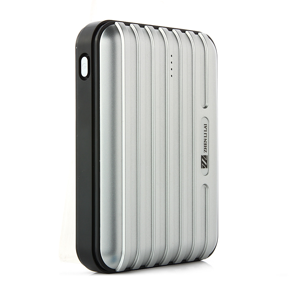 Lumen Stone Line 12000mAh Dual USB Power Bank with Flashlight Silver