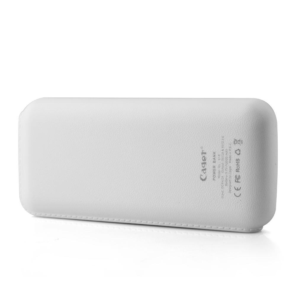 Cager B16 12000mAh Dual USB Power Bank for iPhone iPad Smartphone White