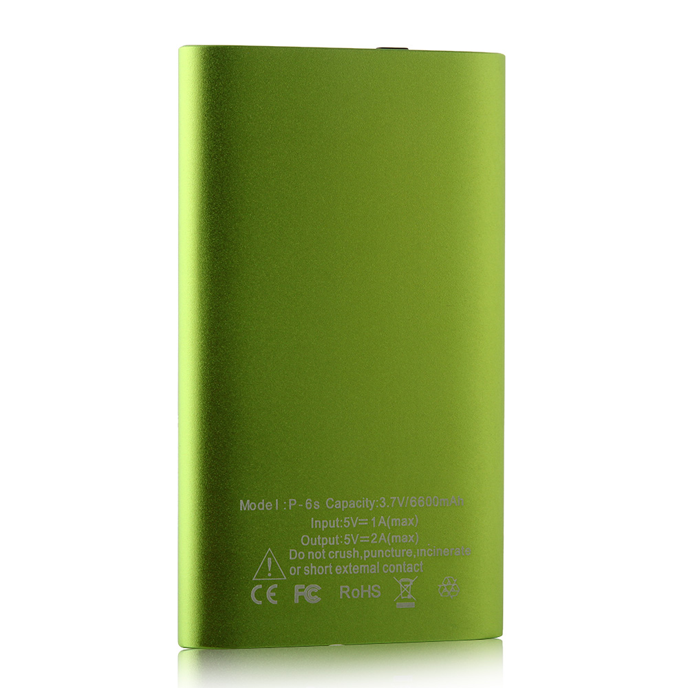 IHT P-6S 6600mAh Power Bank with 3-in-1 USB Cable for Smartphone Green