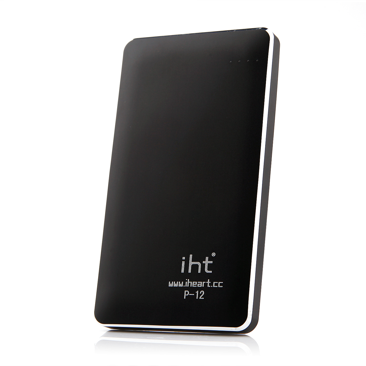 IHT P-12 12000mAh Dual USB Power Bank for iPhone iPad Smartphone Black