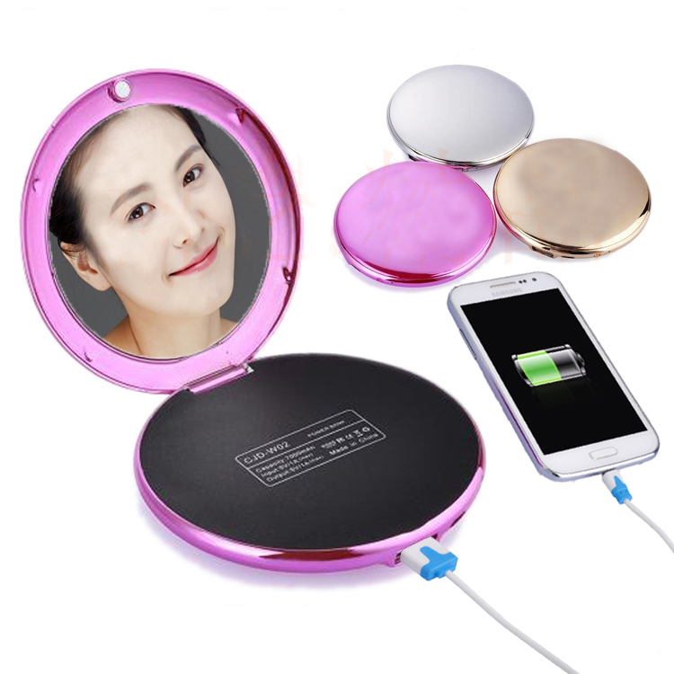 Fashion Lady Cosmetic Mirror 7000mAh USB External Power Bank for Smartphones Rosy