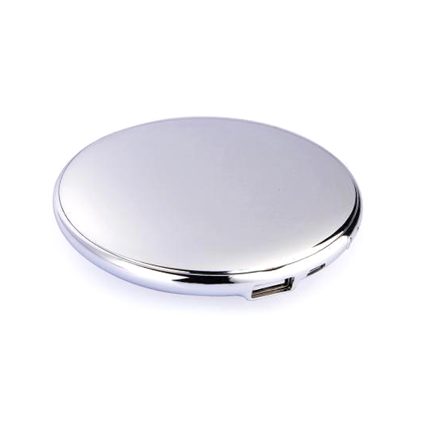 fashion lady cosmetic mirror 7000mah usb external power bank for smartphones silver. Black Bedroom Furniture Sets. Home Design Ideas