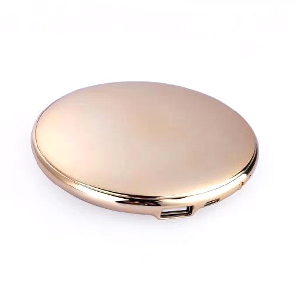 Fashion Lady Cosmetic Mirror 7000mAh USB External Power Bank for Smartphones Gold