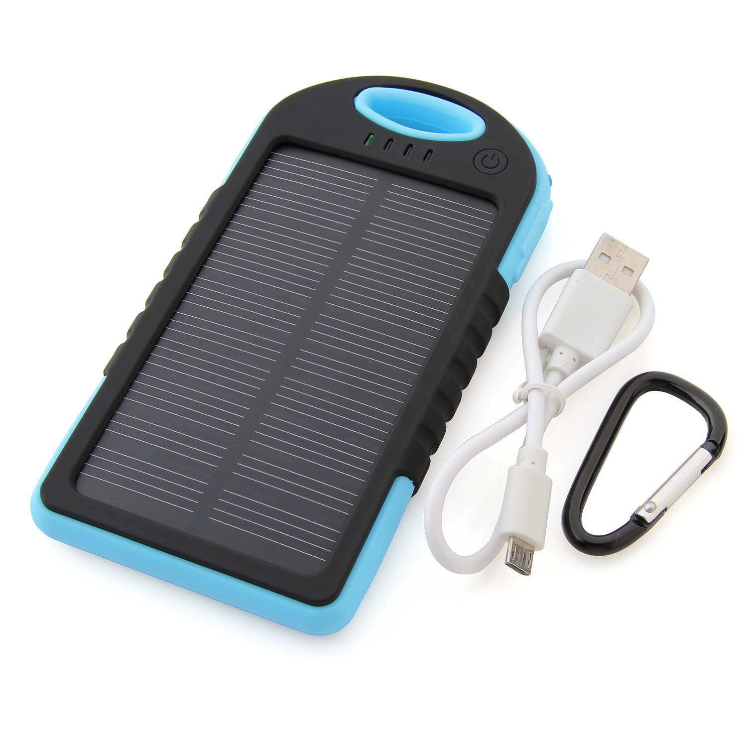 5000mAh Waterproof USB Solar Charger Power Bank Shakeproof Dust Proof Black&Blue