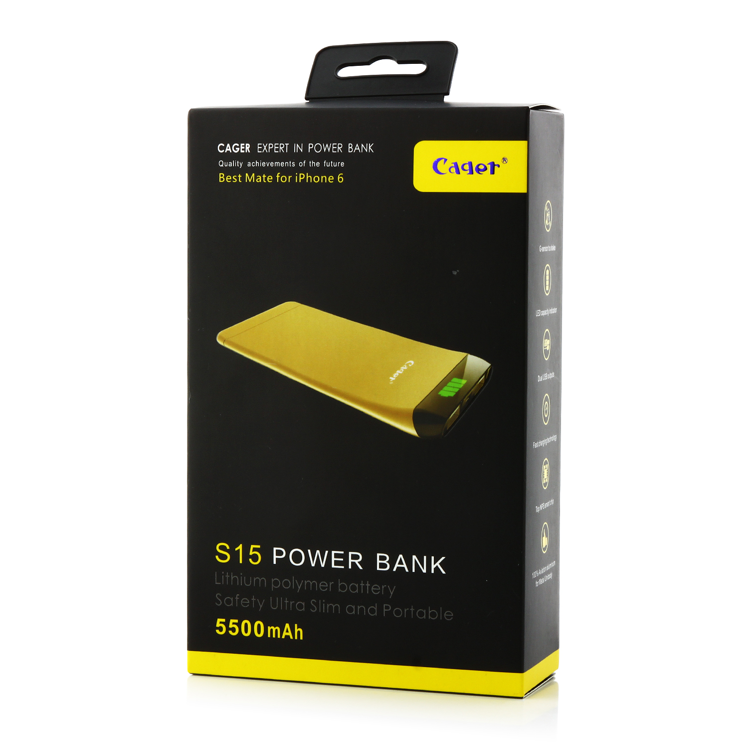 Cager S15 5500mAh Ultrathin Double USB Power Bank for Smartphones Tablet PC Gray
