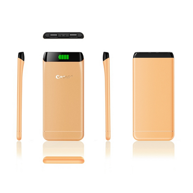 Cager S15 5500mAh Ultrathin Double USB Power Bank for Smartphones Tablet PC Golden